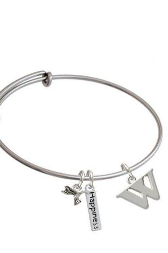 Large Initial - Expandable Bangle Bracelet| Initial| W