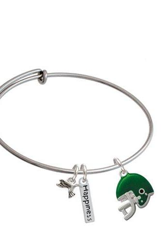 Small Football Helmet Expandable Bangle Bracelet| Color| Green