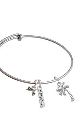 Palm Tree Expandable Bangle Bracelet| Plating| Silver Tone
