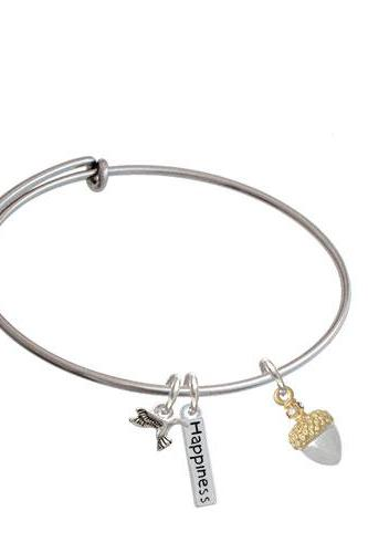 Small Acorn with Crystals Expandable Bangle Bracelet| Plating| Two Tone