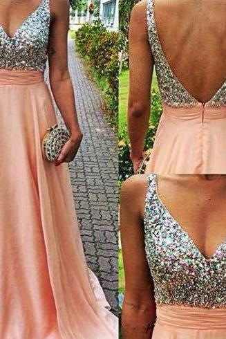 Sexy V Neck Long Chiffon Coral Prom Party Dresses 2015 Backless Crystal Top A Line Chiffon Luxury Formal Plus Size Evening Dress