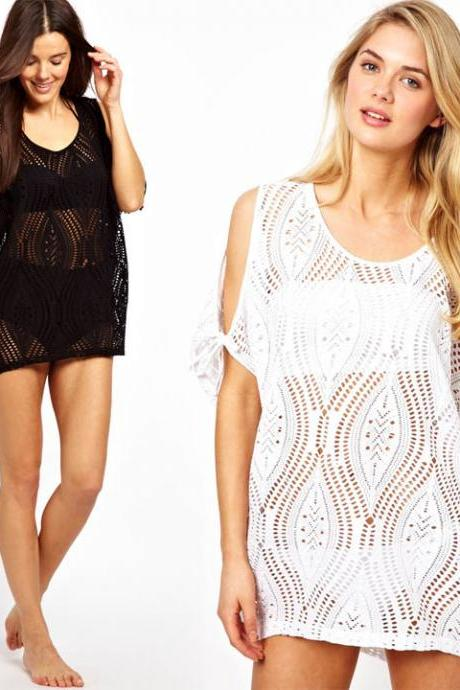 Lace Hollow Crochet Bikini Cover Up