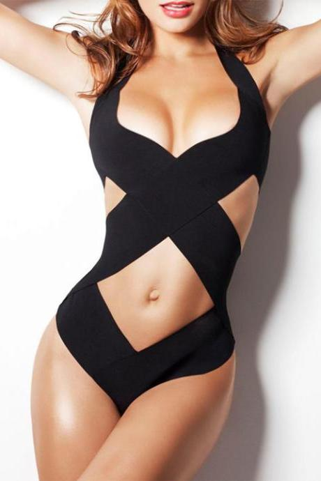 Newest!! Stylish Lady Women Sexy V-Neck Halter Hollow Swimwear Cross Bandage One Piece Beach Swimwear
