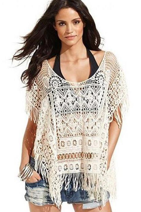 New Fashion Women's O-Neck Hollow Out Crochet Knit Casual Loose Tassels Tops
