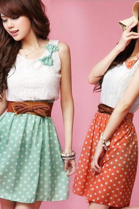 New Korean Fashion Style Polka Dot Sweet Lovely Mini Dress Orange/Green Lace Top With Belt