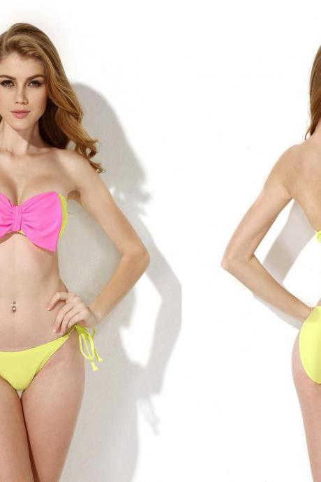 Greenish Yellow Bandeau Top Bikini Swimwear with A Playful Bow at the Center Front swimsuit bathing suit bikini set size S M L