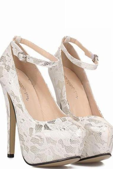 White Floral Lace Round Toe High Heel Stiletto Pumps with Ankle Strap