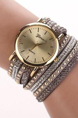 Fashion bracelet rhinestones dress grey girl watch