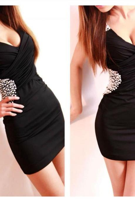 Fabulous Black Diamond Rivets Wrap Design Sleeveless Party Dress