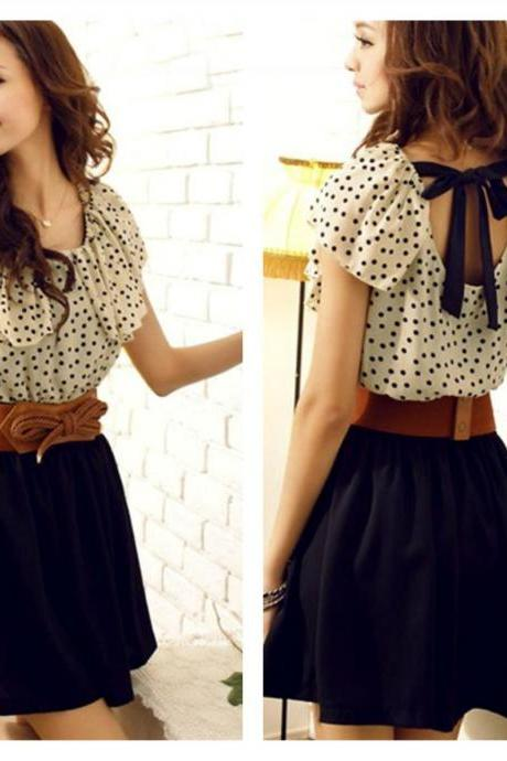 Cute Bow And Polka Dots Chiffon Dress