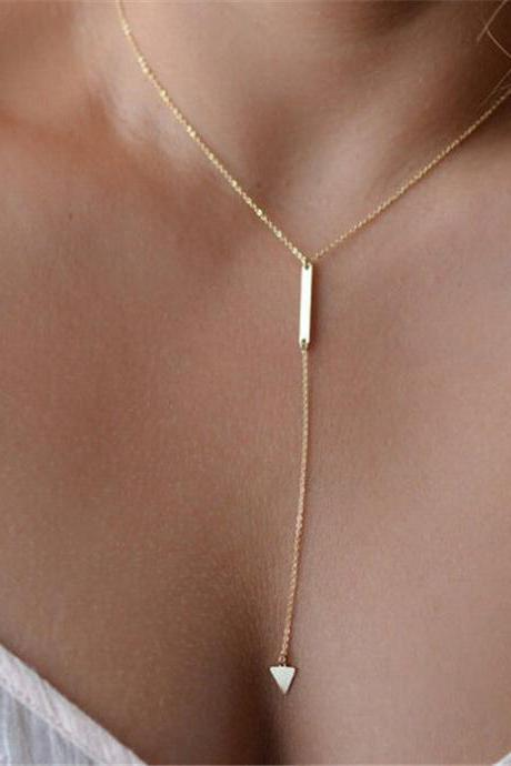 Womens Simple Geometric Triangle Metal Strip Short Tassel Chain Necklace Jewelry