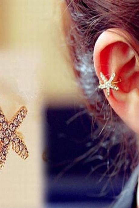 Women Personality Crystal Starfish Charm Ear Clip Cuff Earring Stud Jewelry