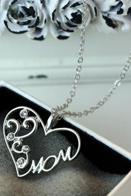 New Mom Charm Silver Crystal Chain Heart Pendant Necklace Love Mother's Day Gift