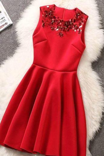 Fabulous Sequined Neckline Pleated Dress In Red And Black