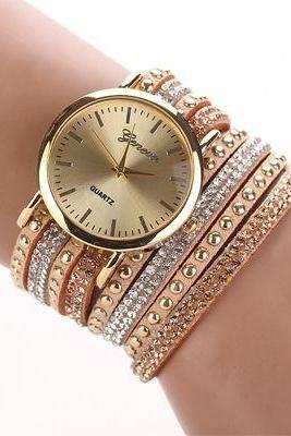 Fashion Bracelet Rhinestones Dress Beige Girl Watch