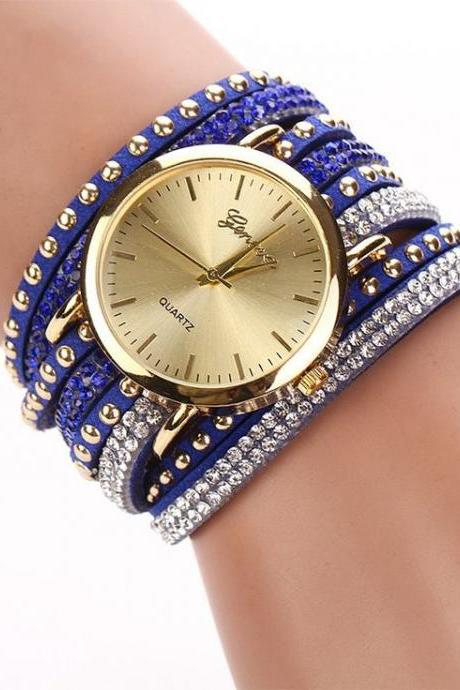 Fashion Bracelet Rhinestones Dress Blue Girl Watch