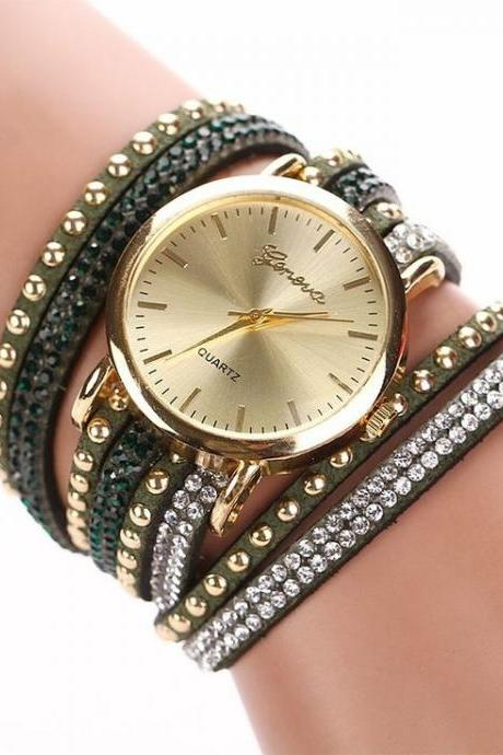 Fashion Bracelet Rhinestones Dress dark green Girl Watch