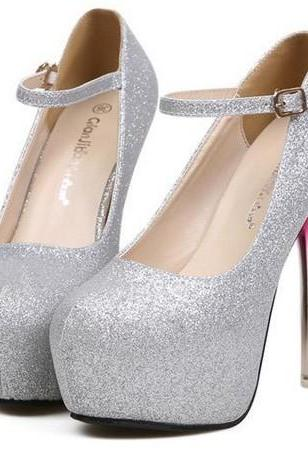 Chic Round Toe Platform Pumps In Silver