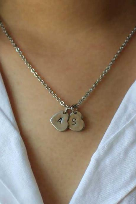 Initial Necklace, Sister Necklace, Heart Necklace, Gifts For Her