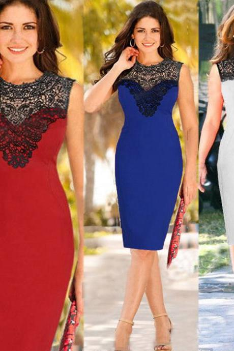 Sexy Women's Celeb Lace Sleeveless Fashion Bodycon Party Cocktail Evening Dress HOTSALE