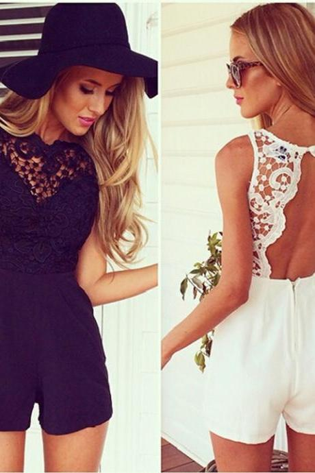 New Women's Ladies Sleeveless Sexy Lace Backless Splicing Bodycon Jumpsuit Playsuit