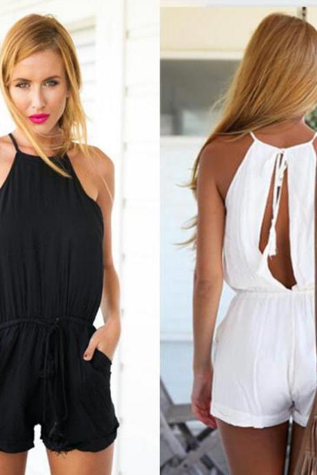 Halter Neck Romper Featuring Drawstring Waist and Cutout Back