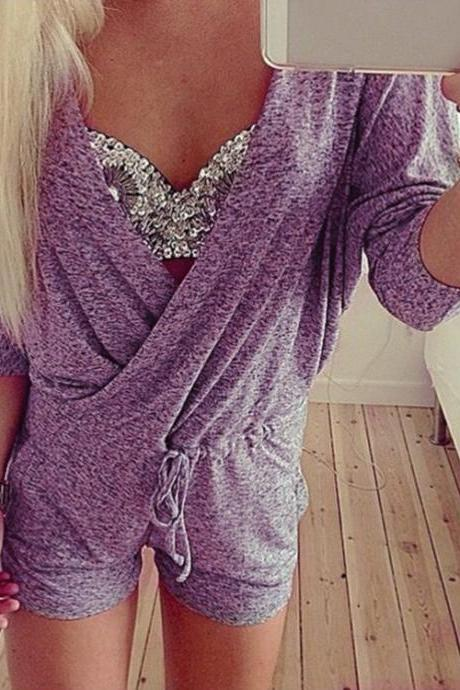 Stylish Lady Women Sexy Deep V-Neck Batwing Sleeve Knit Casual Club Short Jumpsuit