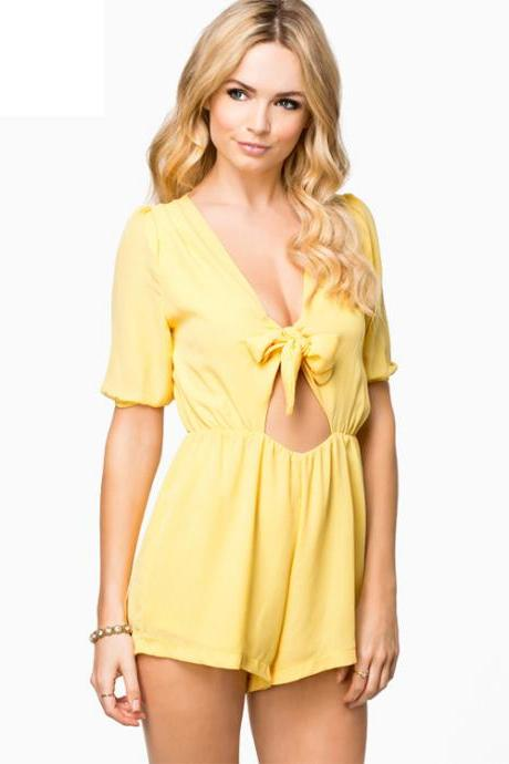 Fashion Women Sexy V-Neck Front Tie-bow Hollow Out Jumpsuit Short Sleeve High Waist Jumpsuit