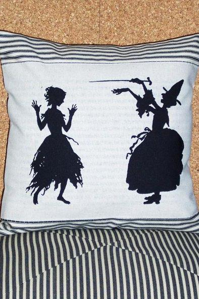 Decorative Throw Pillow Cushion Cover Witch casting a spell on a young girl inspired by Cinderella