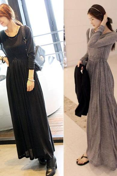 OL Long Sleeve Slim Maxi Long Dress