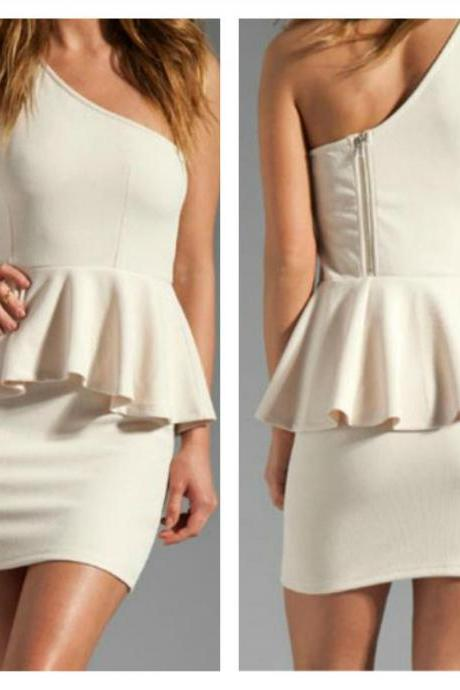 Elegant One Shoulder Sleeveless White Peplum Dress