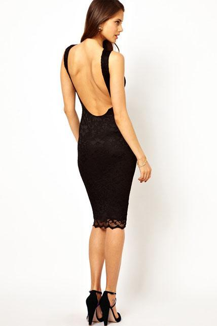 Black Knee Length Backless Lace Dress