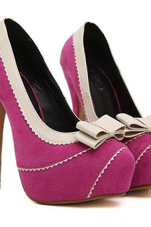 Bow Knot Embellished Rose High Heel Fashion Shoes