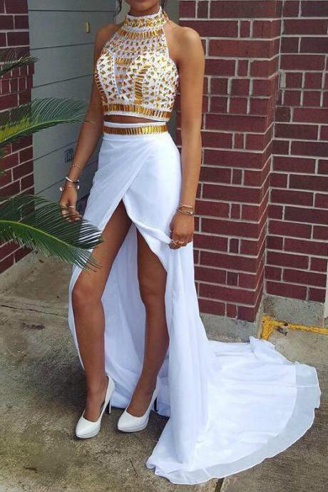 Custom Made High Neck 2 Pieces Long Prom Dresses