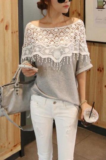 Sexy Lace Casual Top, Summer Cotton Top
