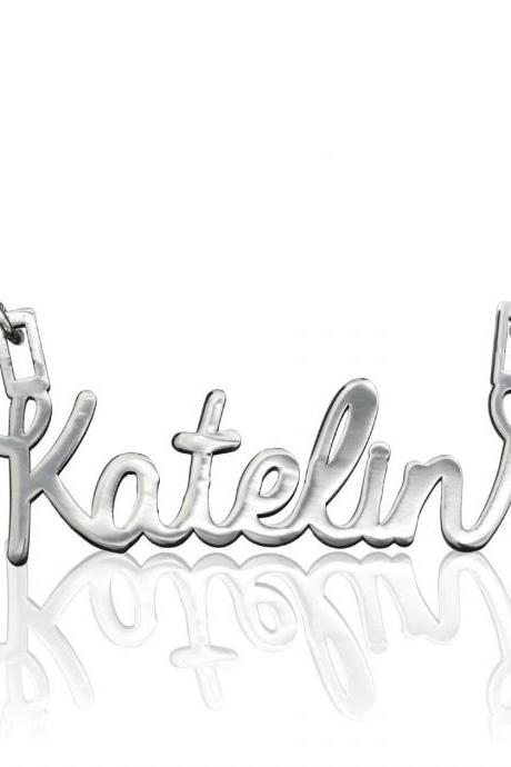 CURSIVE NAME NECKLACE STERLING SILVER CLASSIC