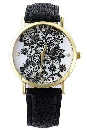 Flowers and leaves face casual black unisex teen watch