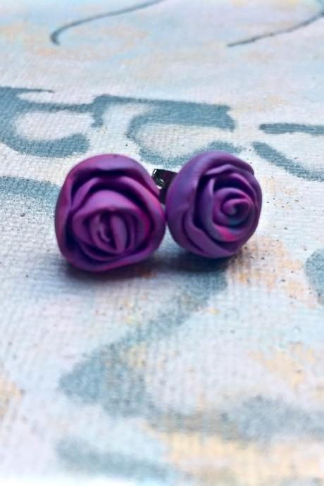 Purple rose studs