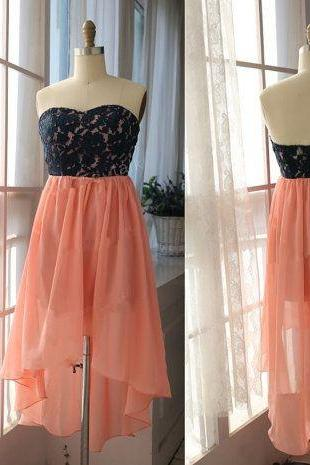 Pretty Handmade Lace Top with Light Coral Skirt Formal Dresses, Evening Dresses, Wedding Guest Dresses, Homecoming Dresses