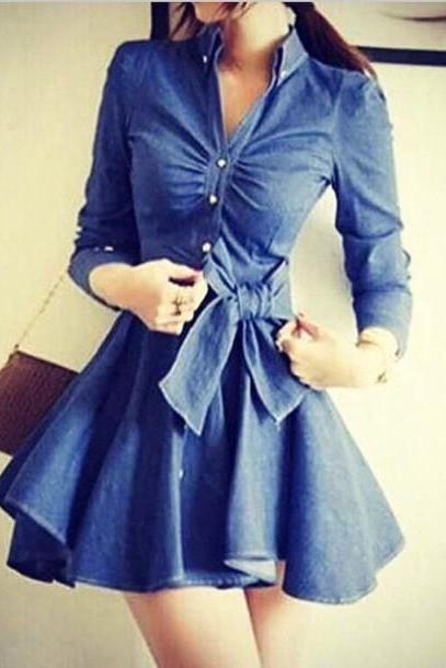 on sale FASHION CUTE COWBOY FASHION BOW DRESS