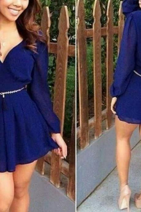 ON SALE CHIFFON BACKLESS DEEP V LONG SLEEVE SKIRT WAIST DRESS AUTUMN NEW CULTIVATE ONE'S MORALITY