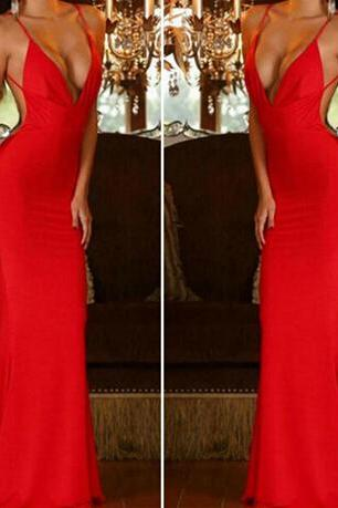 Gorgeous Red Low Back Mermaid Dress VG52606MN