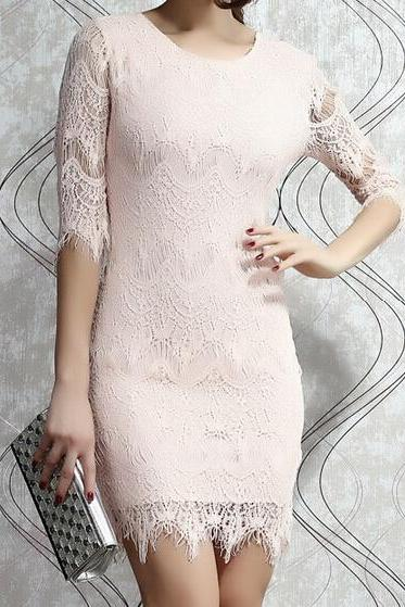 Slim round neck lace flouncing dress VG52607MN