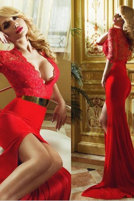 Sexy V Neck Half Sleeves Red Lace Top Silt Side Mermaid Court Train Elegant Sexy Evening Dress Prom Gowns Special Occasion Dress