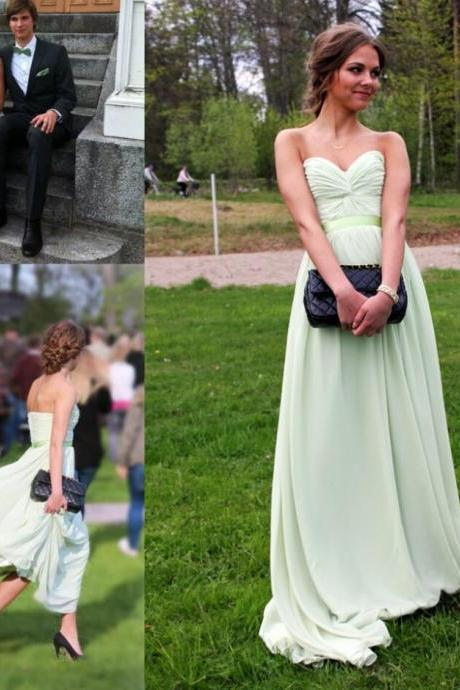 Mint Prom Gowns 2015 Hot Sales Sweetheart Neckline A-line Long Prom Dresses Chiffon Bridesmiad Dresses Formal Party Dresses