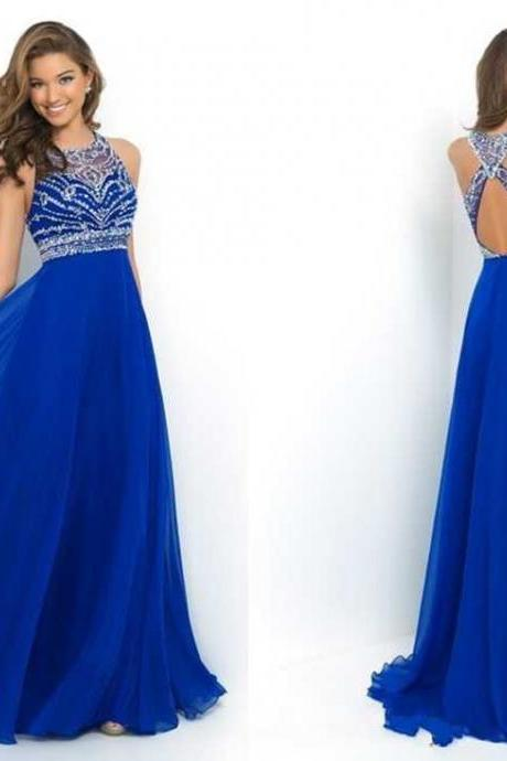 Elegant Royal Blue Chiffon A-Line Prom Dress 2015 Halter Bandage Backless Sparkly Beading Long Prom Dress New