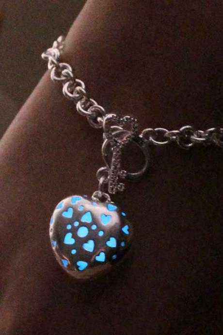 Free Shipping Aquamarine Heart Glowing Bracelet, Birthday Gift, Gifts For Her