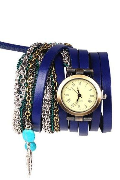 Multi Layer Retro Hippie Unisex Blue Festival Watch