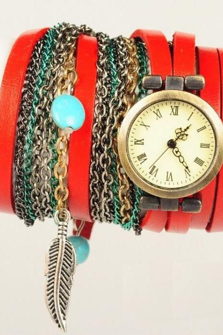 Multi Layer Retro Hippie Unisex Red Festival Watch