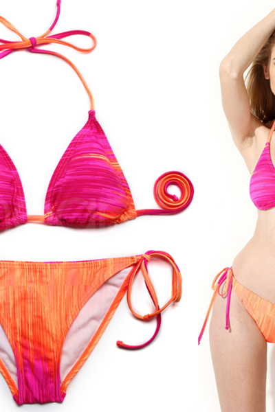 2015 Halter Rose/Orange Ombre Triangle Top with Classic Cut Bottom Bikini Swimwear in Low Price